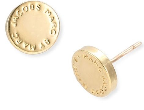 MARC BY MARC JACOBS Gold Logo Disc Stud Earrings