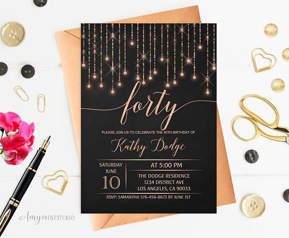 40th Birthday Invitation Rose Gold Birthday Invitation