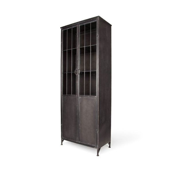 This Full Size Metal Storage Cabinet Has A Unique Industrial Elegance It Features 4 Fixed Metal Shelves Be Metal Storage Cabinets China Cabinet Metal Cabinet