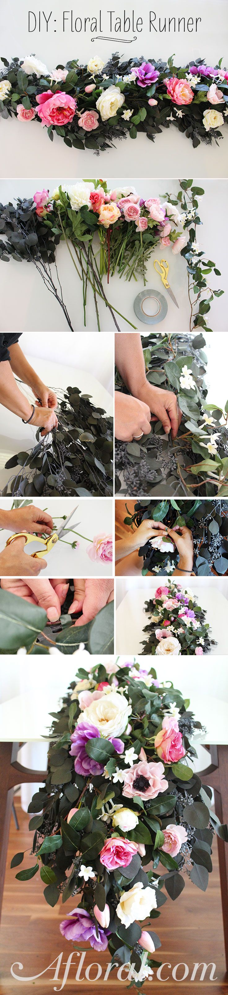 Make your own floral table runner for your DIY wedding with silk flowers and preserved greenery from afloral.com. #diywedding