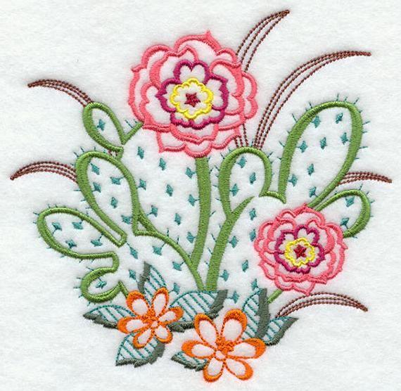 Flour Sack Towel – Vintage Cactus Embroidery Design