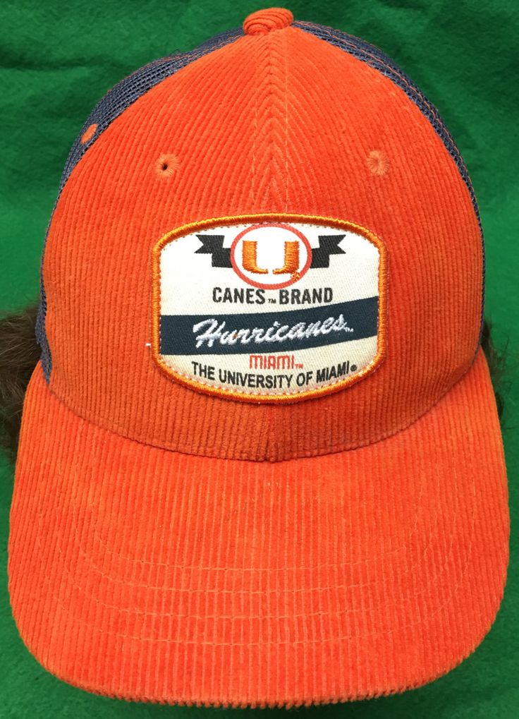 Miami Hurricanes Canes Brand Zephyr University of Miami Adjustable Snapback Cap by CoryCranksOutHats on Etsy