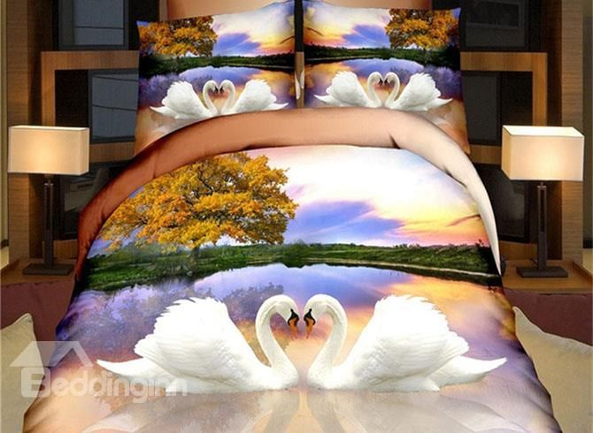 Only costs $41.00! Noble White Swan Print 4-Piece Polyester Duvet Cover Sets