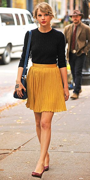 SWEET PLEATS Girly and flattering, pleats started popping up on skirts and dresses in the latter half of 2011 and will likely find their way into many more Hollywood closets – including Taylor Swift's – in 2012, whether on maxis or minis.