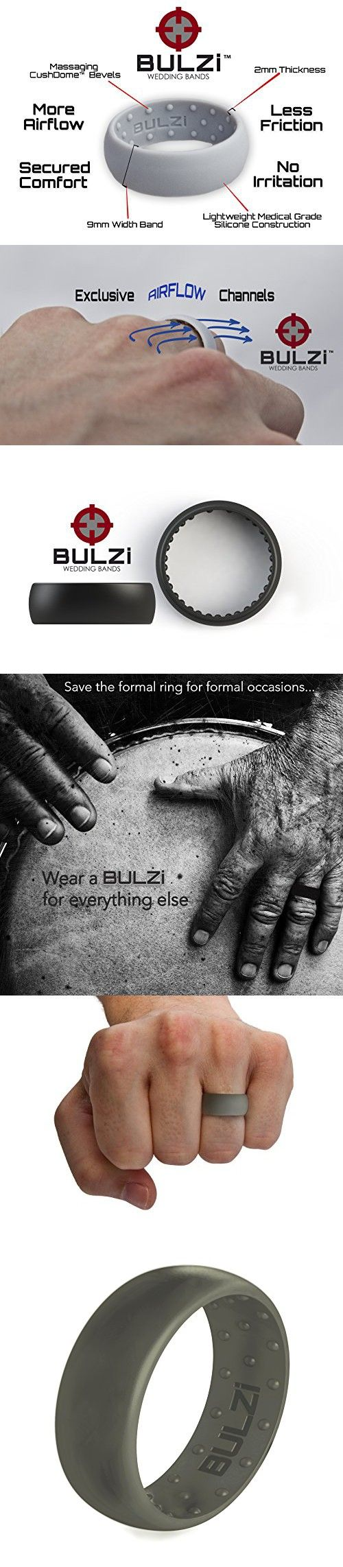 BULZi - Massaging Comfort Fit Silicone Wedding Ring - #1 Most Comfortable Men's Wedding Band - Round Edges with Flexible Work Safety 9mm Domed Design (Sage, 10 - 19.8mm)