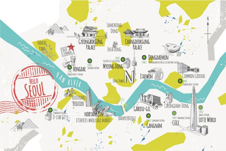 "Seoul Map-Graphic Design about Seoul City Tour Map for Guesthouse, ""Hello, Stranger"""