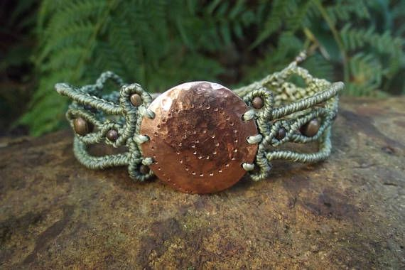 Check out this item in my Etsy shop https://www.etsy.com/au/listing/537666211/handmade-copper-macrame-bracelet-wrist