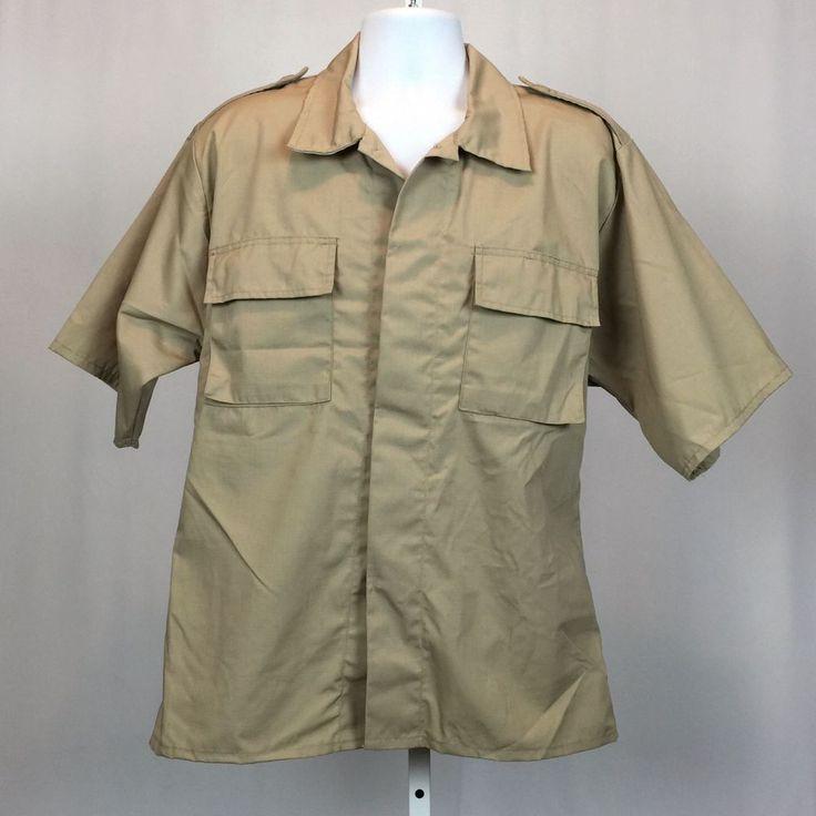 TRU-SPEC Tactical Uniform Shirt Mens Size L Short Sleeve Khaki Tan Military  #TruSpec