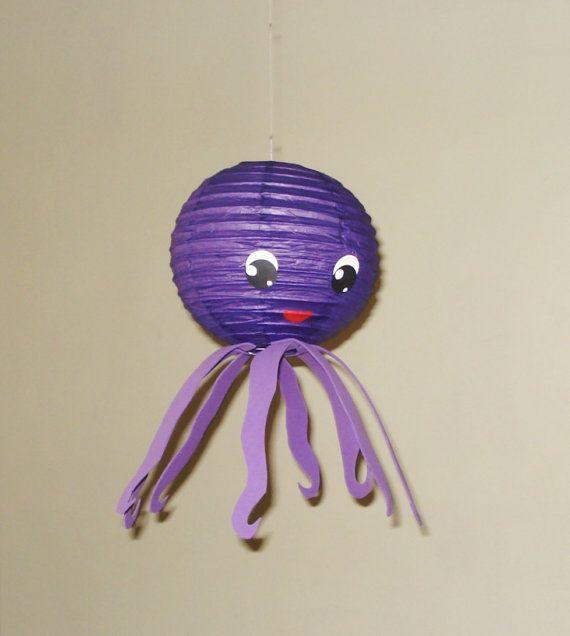 poulpe lampion. (Violet) Décorations de fête, Baby Shower, décor de salle, décor de pépinière.