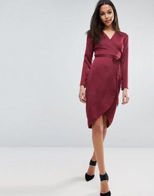 ASOS Midi Wrap Dress in Satin