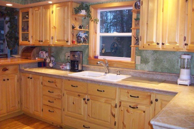 Knotty pine kitchen cabinets for the home pinterest for Pine kitchen furniture