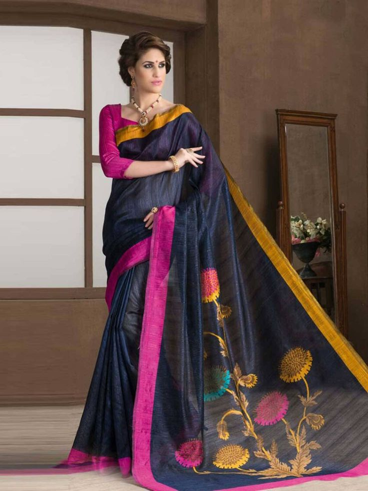 Artifice navy blue Silk Printted Saree