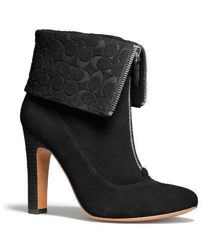 COACH HAYLEY ANKLE FASHION BOOTIE women shoes heels AUTHENTIC SUEDE No, non queste, nessun risvolto. Ok il colore, ok il tacco