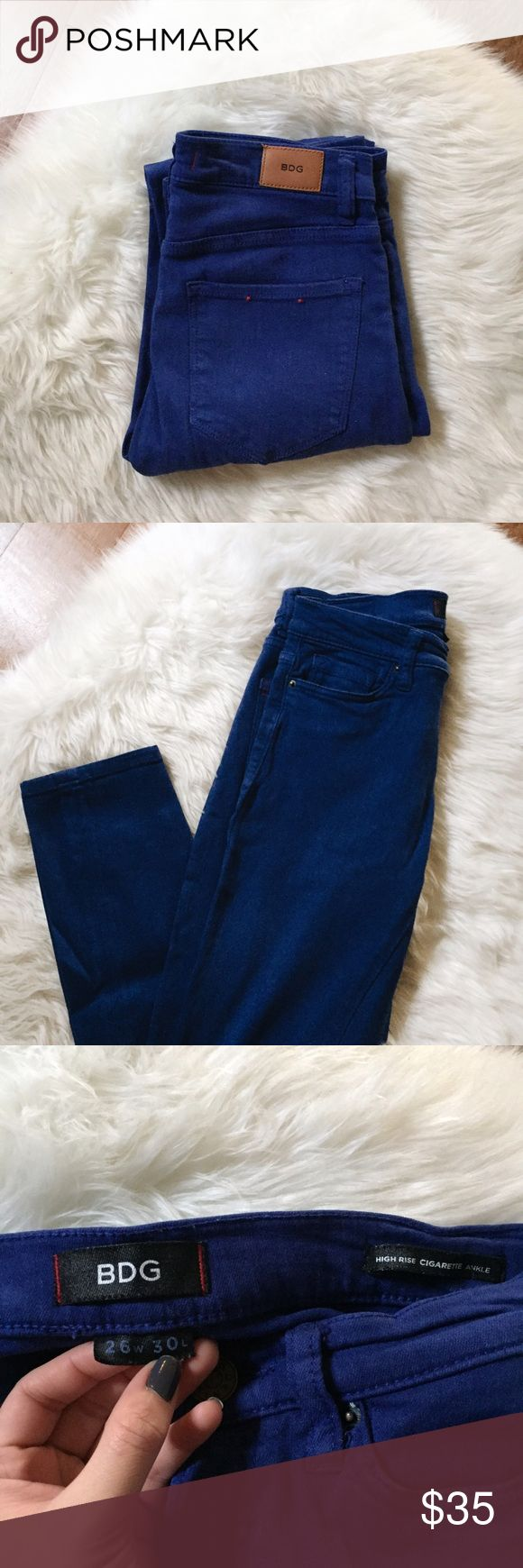 """🆕 listing! BDG high rise cobalt pants Urban Outfitters BDG high rise cigarette ankle pants in the color cobalt. Purchased from another app so they may have been worn by the previous seller but i received and never wore them. Only washed. Size 26"""" w and 30"""" l. No trades or try ons. Feel free to make an offer. Lowballs will be ignored. Urban Outfitters Jeans Ankle & Cropped"""
