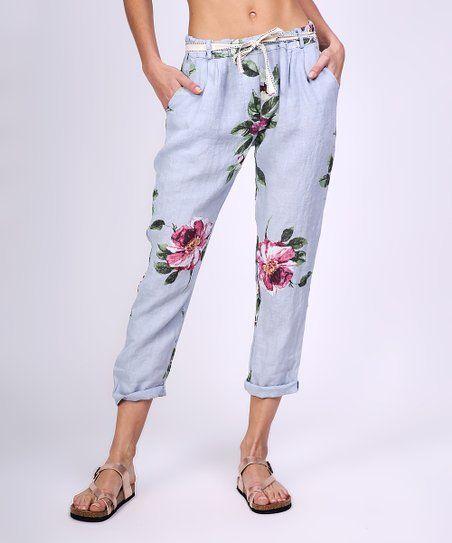 edd695595d9 Ornella Paris Gray Floral Cuffed Linen Pants - Women | zulily ...