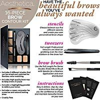 Aesthetica Cosmetics Brow Contour Kit - 15-Piece Contouring Eyebrow Makeup Palette - Includes Powders, Wax, Stencils, Spoolie/Brush Duo, Tweezers & Step-by-Step Instructions - Cruelty Free