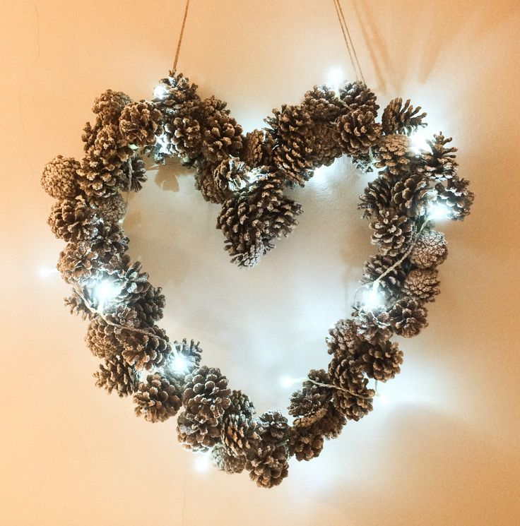 Handmade Christmas Wreath Of Pine Cones And Snow Spray. Christmas WreathsChristmas  CraftsChristmas IdeasHandmade ...