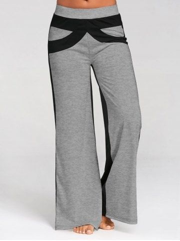 dcff992c506 Shop for Gray Xl Color Block Wide Leg Pants online at  17.44 and discover  fashion at RoseGal.com Mobile