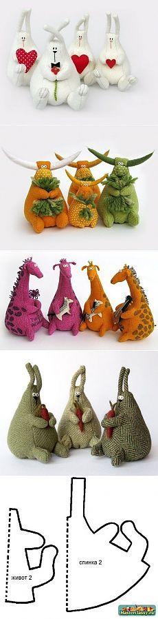 Очаровательные игрушки, сшитые по одной выкройке