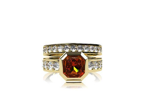 Engagement ring set with 1.29ct Yellow sapphire engagement ring by TorkkeliJewellery, $4590.00
