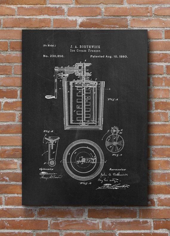 Ice Cream Freezer Patent Ice Cream Art Patent Print Art by dalumna