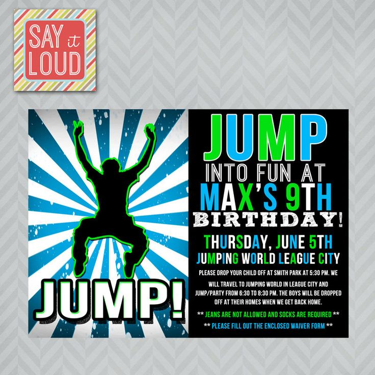 16 best Kade 6th BD images on Pinterest Trampoline birthday party - best of invitation wording for gymnastics party