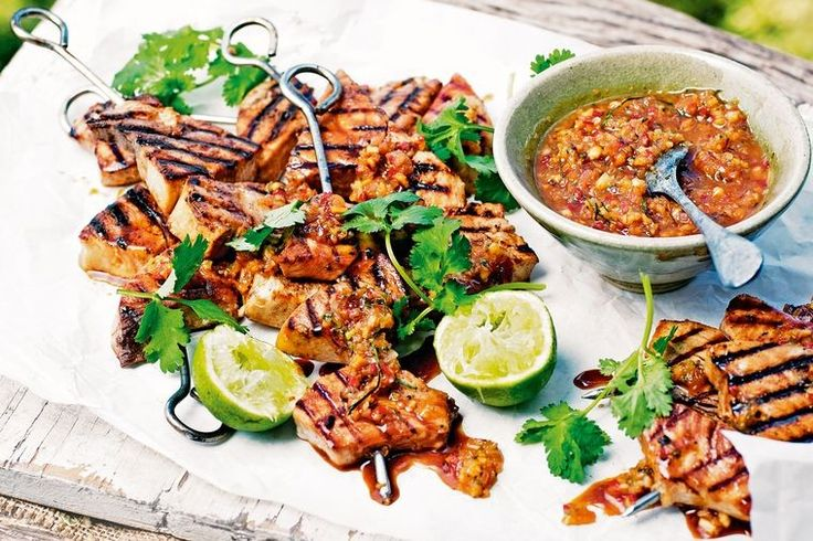 Swordfish is great on barbecue skewers due to its tougher flesh and larger fillet pieces.