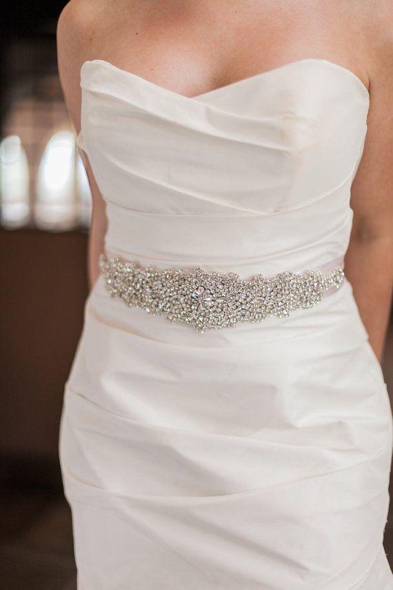 Crystal Rhinestone Bridal Belt on Satin Sash - Bridal Belt - embellished Belt - bridal applique - Wedding Accessories - EYM B006