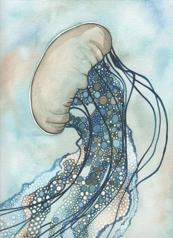 Ortiga de mar Medusa 8.5 x 11 impresión de mano pintado