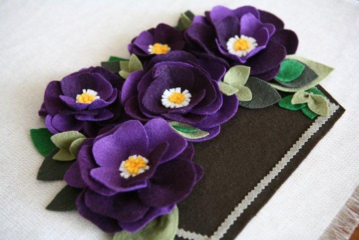 purple felted flowers | do it, yourself / diy