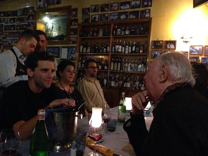 Mika having dinner with his mom & Dario Fo in Naples, May 2014