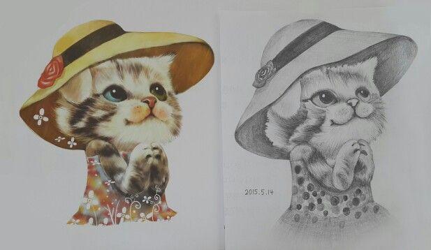 고양이 그림 샤프 소묘