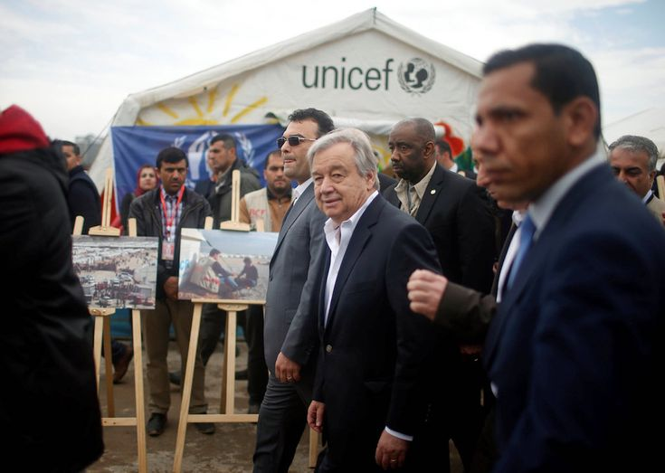 Antonio Guterres was in east Mosul visiting a camp for displaced Iraqis and meeting with Iraqi ministers