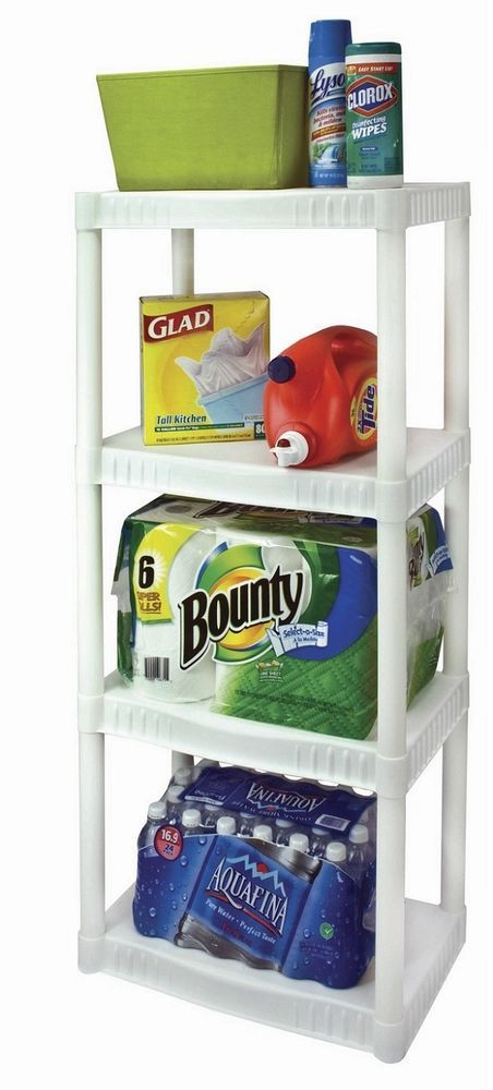 Plastic Shelving Unit Storage 4-Tier Shelves Organizer Heavy-Duty Kitchen Racks #PLASTICUNIT