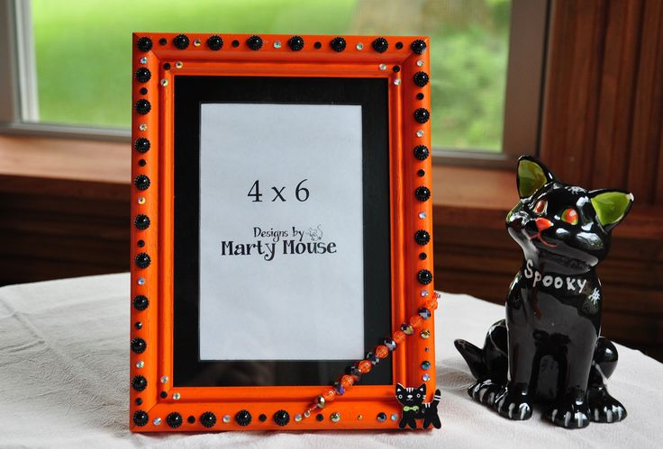 Halloween Picture Frame/Spooky Picture Frame/Black Cat/Halloween Cat/Orange Picture Frame/4x6 Picture Frame/Orange 4x6/Black and Orange by Designsbymartymouse on Etsy