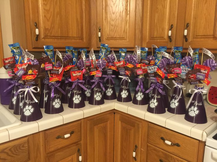 Cheerleader Megaphone Bouquets made for gifts for football players to give to the cheerleaders.