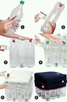 Puff hecho con botellas pet recicladas