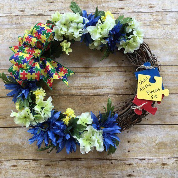Autism Wreath Autism Awareness Autism Ribbon Autism Home Decor Everyday Wreath Autism Awareness Front Door Wreath