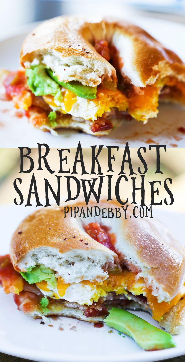 Loaded Bagel Breakfast Sandwiches | My absolute FAVORITE breakfast sandwich, packed with the yummiest breakfast foods!