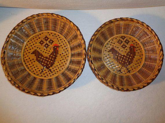 Vintage Rooster Wicker Plate  Vintage Rooster Plate  Rooster