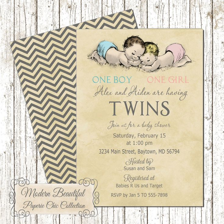 Twin Boy and Girl Vintage Baby Shower invitation, vintage twins babies invitation, one boy one girl baby shower invitation, twins invitation by ModernBeautiful on Etsy https://www.etsy.com/listing/216389245/twin-boy-and-girl-vintage-baby-shower