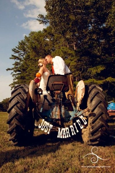 Tractor ... #Wedding #App ♥ For an easy-to-follow 'Wedding Vehicle Guide' ... https://itunes.apple.com/us/app/the-gold-wedding-planner/id498112599?ls=1=8 ♥ For more wedding inspiration ... http://pinterest.com/groomsandbrides/boards/ & magical wedding ideas.