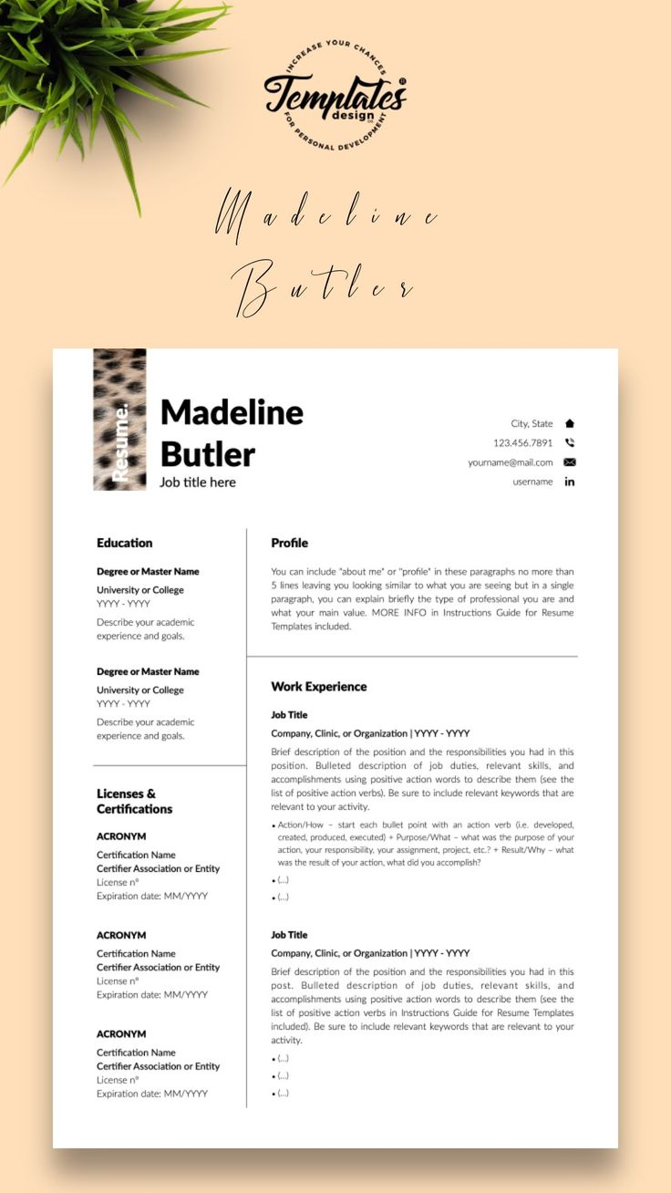 animal care resume template for word  pages madeline