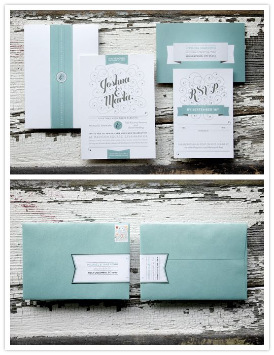 The designer of this stationary set plays with vintage elements, like ribbons, curls and turquoise and brings whimsy and contrast to the design to modernize it.