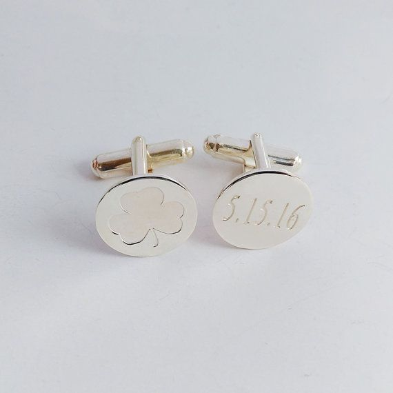Shamrock Date Cufflinks,Personalized Wedding Cufflinks,Groom Wedding Cufflinks,Date and Initials Cufflinks,Elegant Monogrammed Cufflinks  Customize this very popular Personalized Wedding Cufflinks with any name,date,initials, Coordinates,Roman Numeral,symbols that is special to you.  Metal type: choice of 925 sterling silver / 18k gold plated / white gold plated Monogram diameter: 13mm(0.5inch)