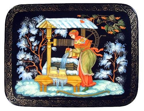 """At The Well"" Lacquer Art by V Komov (Palekh)"