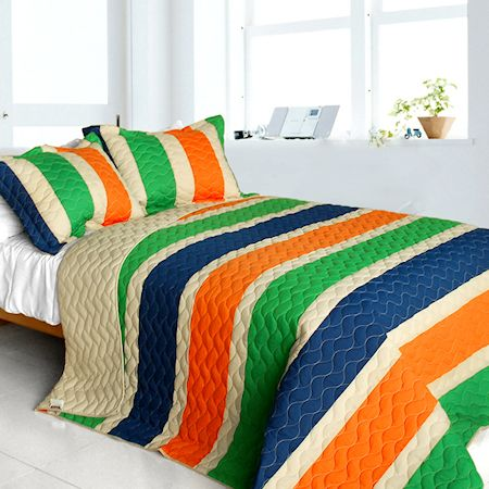 Blue Green Orange Teen Boy Bedding Full Queen Quilt Set
