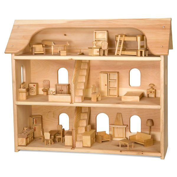 Wooden Dollhouse & Furniture Set in Classic Toys – Nova Natural Toys & Crafts