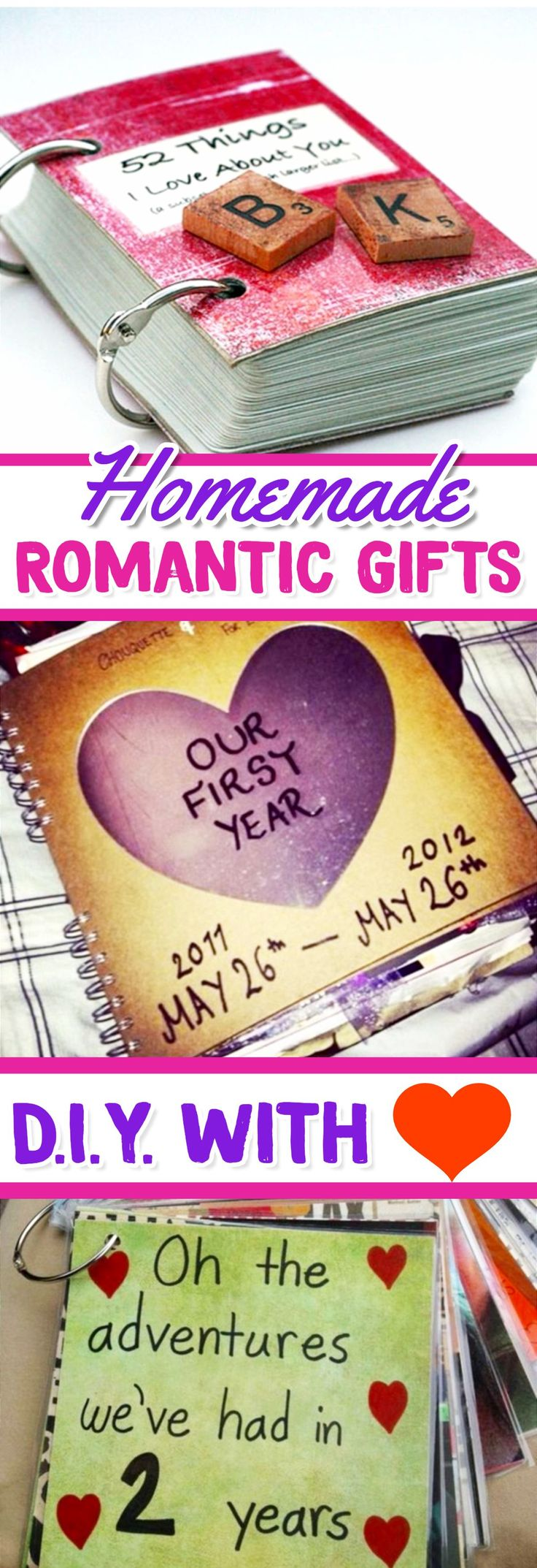 Homemade Romantic Gifts - DIY gifts for him or her ideas we love #ValentinesDayCrafts #romanticgifts #giftsforher #giftideas #homemadegifts #valentinesday #valentinesdaygiftideas #diygifts