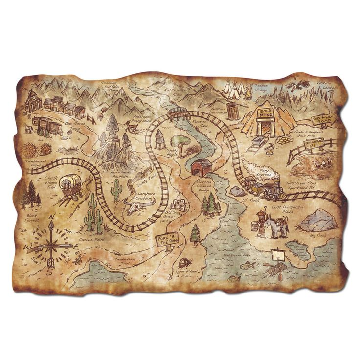 """COWBOY Party Decor Prop Favor Old Wild West GOLD RUSH Mine Treasure MAP 12""""x18"""" #BeistleCompany #Everyday"""
